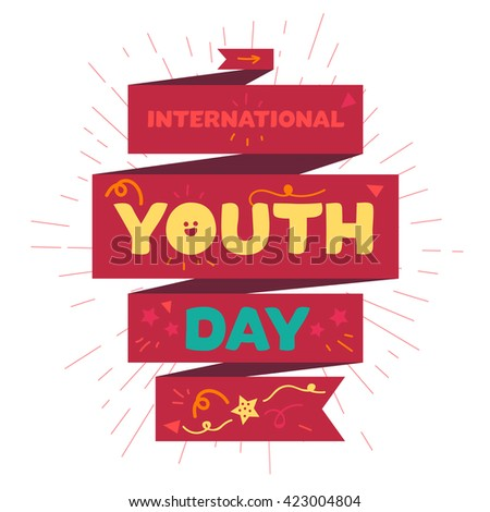 Vintage template card of International Youth Day for banner, brochure, flyer, greeting, invitation, cover. Design Elements for poster. Vector