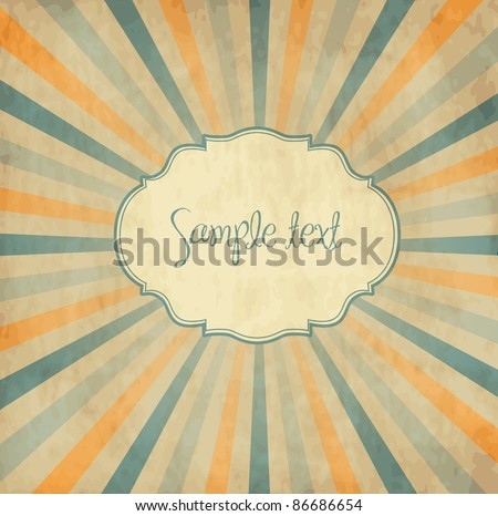 Vintage template, colored sun burst background.