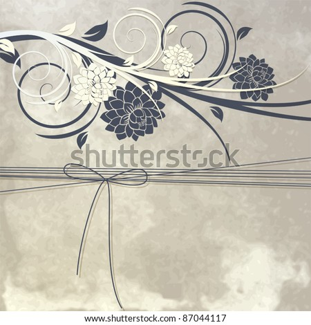 Vintage template for greeting card or invitation with flowers and ribbon - stock vector