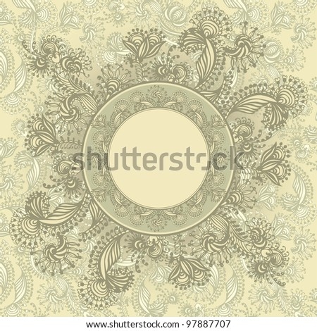 Vintage template with abstract flowers, hand-drawing. Vector illustration.