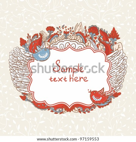 Vintage template with hearts and birds