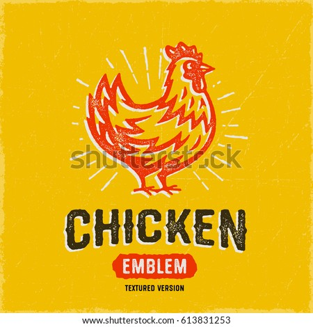 vintage textured chicken emblem ...