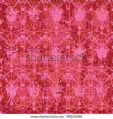 Vintage textured floral background - stock vector