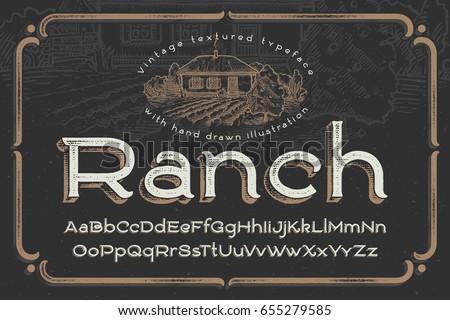 vintage textured font named