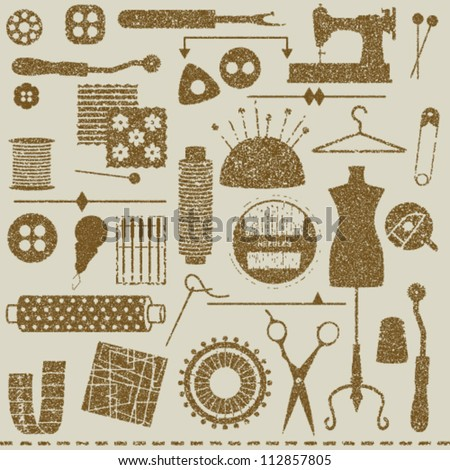 Vintage textured sewing and tailoring symbols
