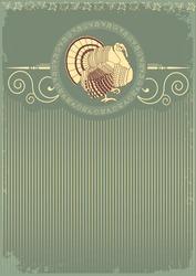 Vintage Thanksgiving turkey postcard for text.Vector