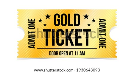 Vintage theatre tickets vector template. Vector golden tickets isolated on whithe backgound. Cinema, theater, concert, game, party, event, festival black and gold ticket.