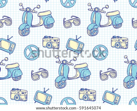 Vintage Theme Background With Scooter Television And Camera