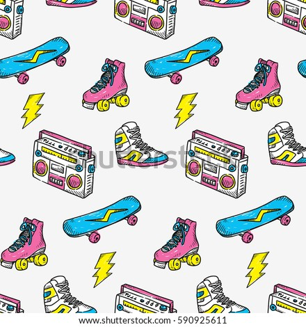 Vintage theme background with sneakers radio skateboard and roller skate