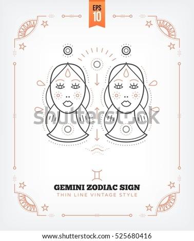 Vintage thin line Gemini zodiac sign label. Retro vector astrological symbol, mystic, sacred geometry element, emblem, logo. Stroke outline illustration. Isolated on white background.