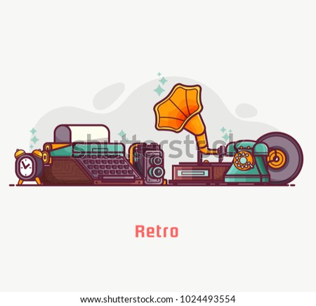 Vintage things and objects. Flea market or antiques shop banner. Old rarity elements for entertainment with lens camera, gramophone, typewriter and telephone. Abstract retro tech concept background.