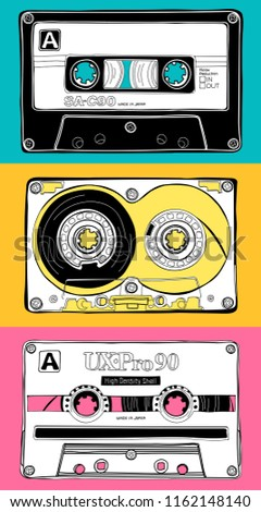 Vintage three different Audio Cassettes on a coloring background. Poster, card, t-shirt composition, hand drawn style print. Vector illustration.