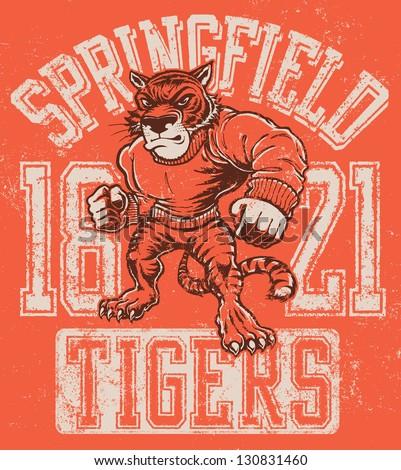 vintage tiger mascot design