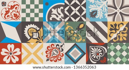 Vintage tiles intricate details for a decorative look. Ceramic paint floor, ornament Collection Patchwork Pattern Colorful  Illustration background Pattern. Geometric decoration for floor.