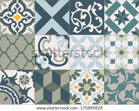 Vintage tiles intricate details for a decorative look. Ceramic paint floor, ornament Collection Patchwork Pattern Colorful Painted tin Illustration background Pattern. Geometric decoration for floor