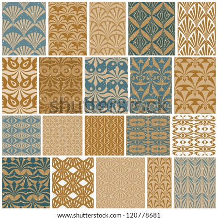 Vintage tiles seamless patterns vector set, 20 swatches.