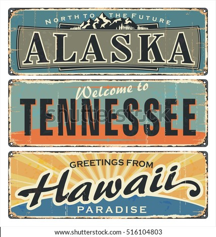 Vintage tin sign collection with US. All States. Alaska. Tennessee. Hawaii. Retro souvenirs or old paper postcard templates on rust background. States of america.