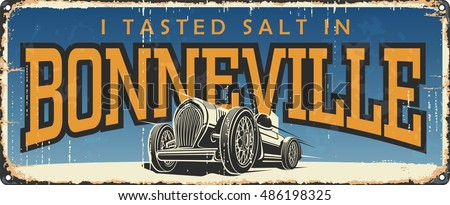 Vintage tin sign collection with USA cities. Bonneville. Utah speed race. Retro souvenirs or postcard templates on rust background.