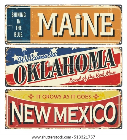 Vintage tin sign collection with USA state. Maine. Oklahoma. New Mexico. Retro souvenirs or vintage paper old postcard templates on tin rust background.