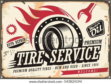 vintage tin sign for tire...