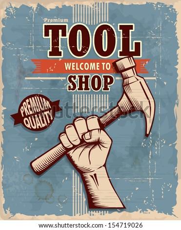 vintage tool shop poster design