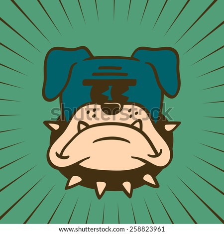 Vintage Toons: retro cartoon bulldog character with frowning face, beware of the hound dog, spiked collar and glowering look