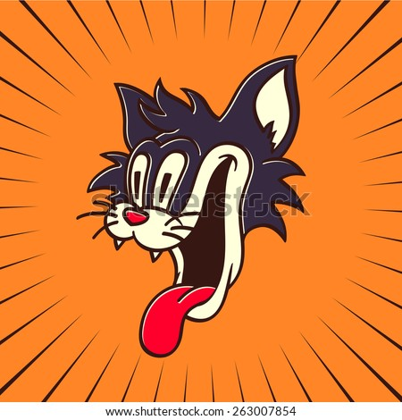 vintage toons: retro cartoon character hungry crazy cat smiling with tongue out looking at something delicious