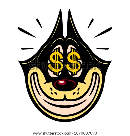 Vintage Toons: retro cartoon character smiling greedy cat with money dollar sign in eyes sale easy money profit emoji vector illustration