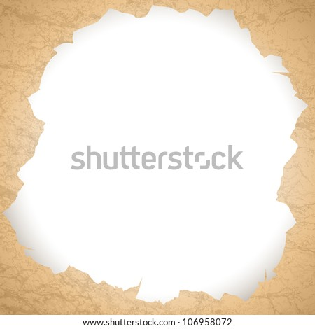 vintage torn paper hole with copyspace for your text
