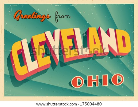 Vintage Touristic Greeting Card - Cleveland, Ohio - Vector EPS10. Grunge effects can be easily removed for a brand new, clean sign.