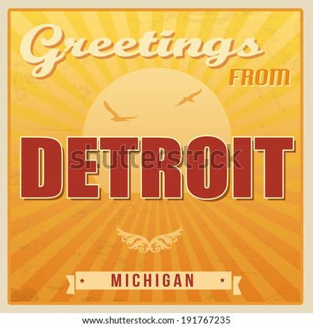 Vintage touristic greeting card detroit michigan vector vintage touristic greeting card detroit michigan vector illustration m4hsunfo