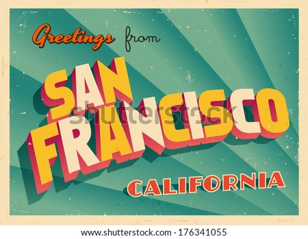 San francisco postcard vector download free vector art stock vintage touristic greeting card san francisco california vector eps10 grunge effects can m4hsunfo