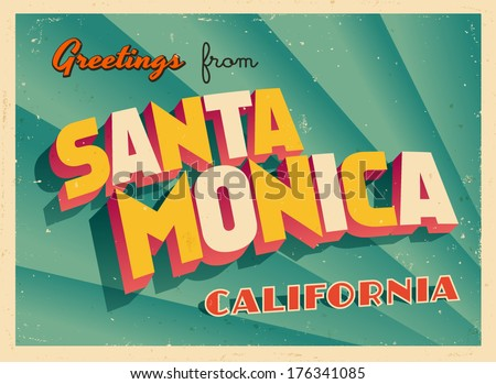 Greetings from california illustration download free vector art vintage touristic greeting card santa monica california vector eps10 grunge effects can m4hsunfo