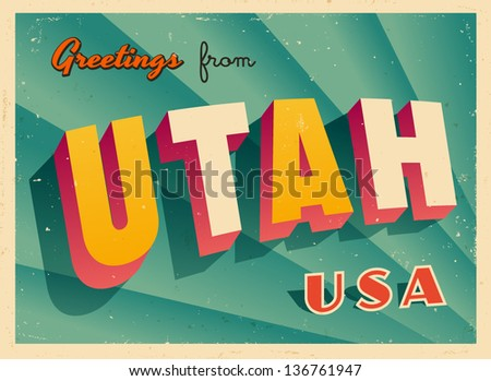 vintage touristic greeting card ...