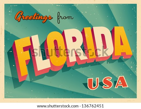 Vintage Touristic Greeting Card Vector EPS10 Grunge effects can be easily removed for a brand new clean sign