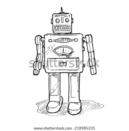 Vintage toy robot. Hand drawn isolated vector sketch on white background.