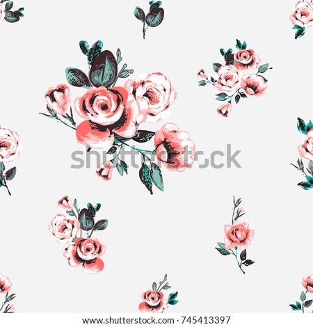 Vintage traditional pink rose flowers, vector seamless pattern in watercolor style. Beautiful floral Illustration on white background.