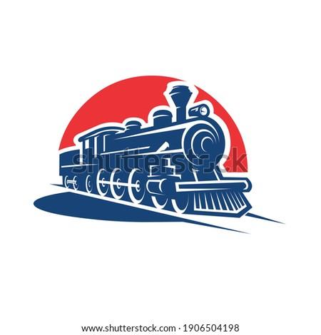 Vintage train locomotive vector isolated illustration Photo stock ©