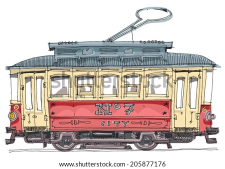 vintage tram   cartoon