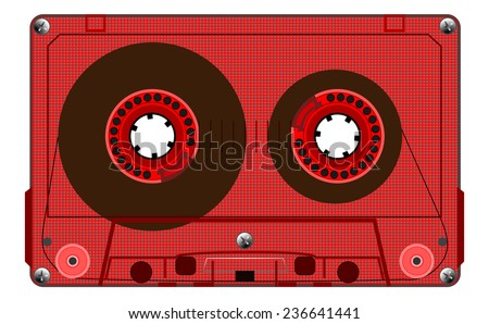 Vintage transparent compact audio cassette. Red music cassette tape, old technology, realistic retro design. vector art image illustration, isolated on white background, eps10