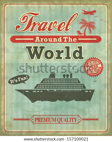 Vintage Travel around the world poster design