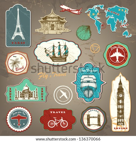 vintage travel labels with hand ...