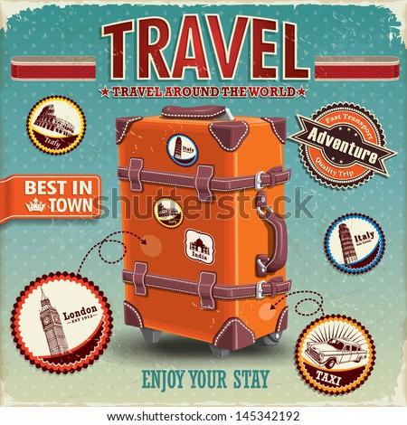vintage travel luggage poster...