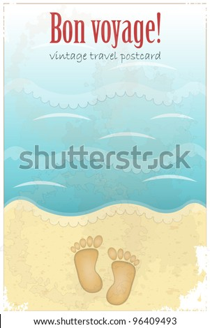 Vintage Travel Postcard - footprints in sand at the beach - vector illustration