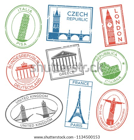 Vintage travel stamps for postcards with europe countries architecture attractions country culture trip tours sticker. Post stamp stickers for travels postcard colorful vector isolated icon set Foto stock ©