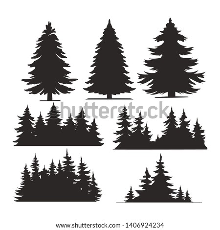 Vintage trees and forest silhouettes set in monochrome style isolated vector illustration