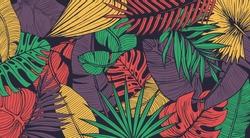 Vintage tropic pattern design. Cool floral wallpaper. Eps10 vector.