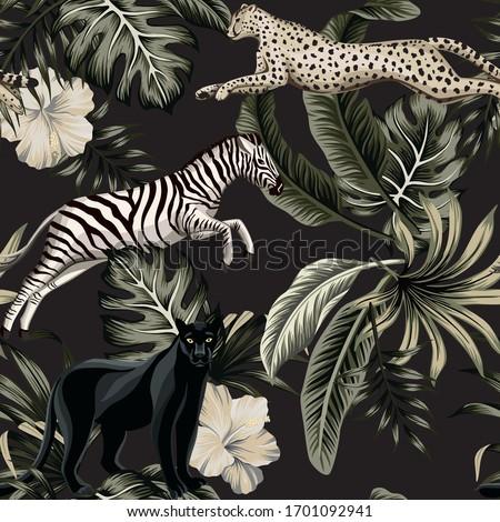 Vintage tropical floral leaves , hibiscus flower, black panther, zebra, cheetah running wildlife animal floral seamless pattern black background. Exotic safari night wallpaper.