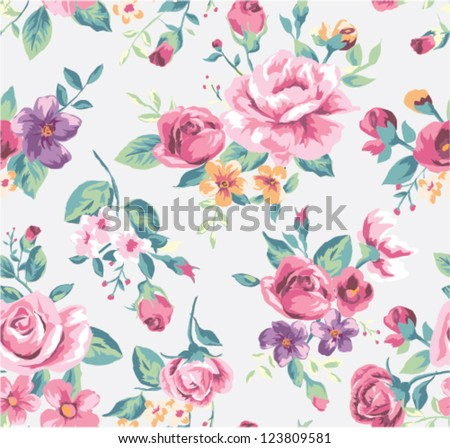 vintage tropical flower pattern vector