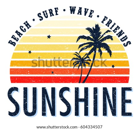 Vintage Tropical Graphic. Summer Graphic. Palm trees. Lettering ' Sunshine' Vector Illustration. Apparel Print
